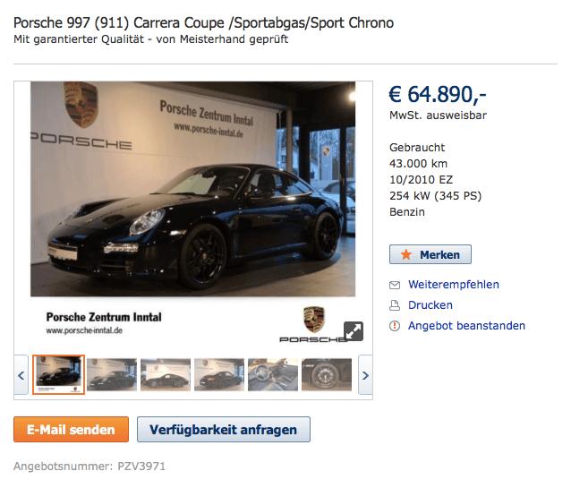Gepflegter 911 aus Vorbesitz zum Preis eines neuen Boxsters.